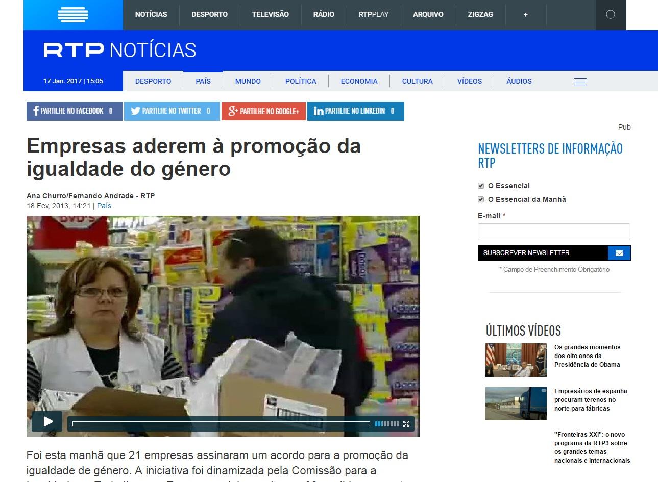 Imagem - RTP Notícias - Empresas aderem à promoção da igualdade de género