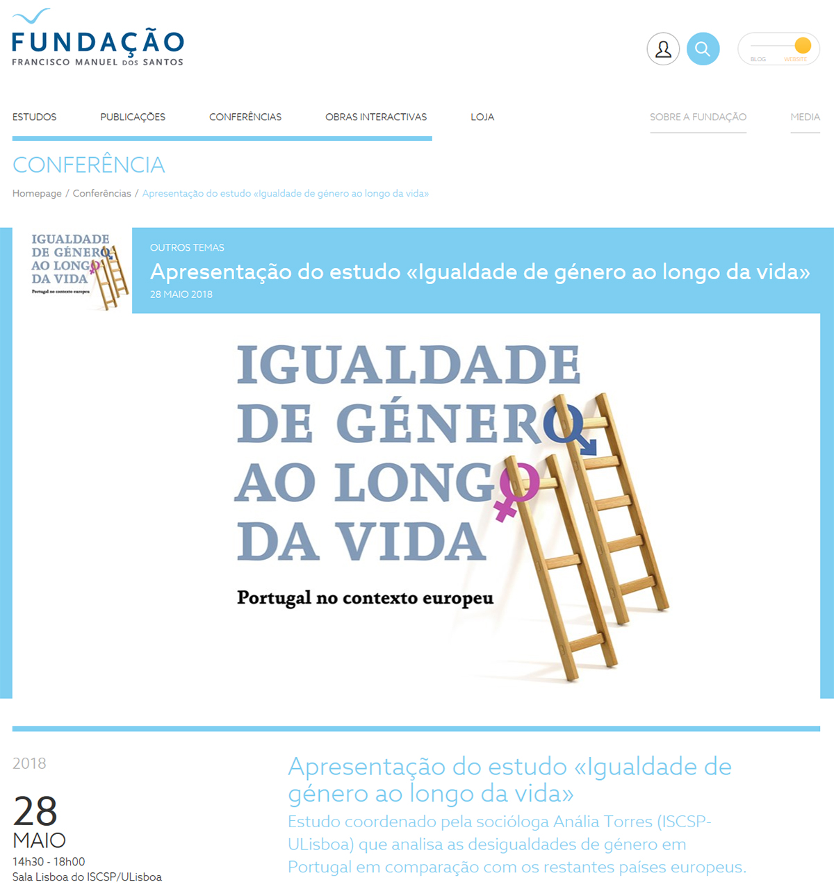 Fundação Francisco Manuel dos Santos - Apresentação do estudo «Igualdade de género ao longo da vida»