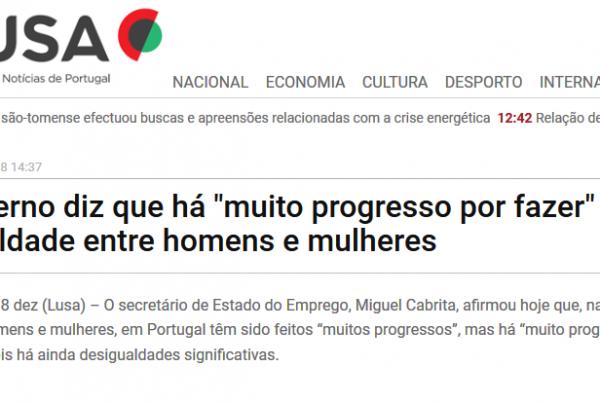"""Governo diz que há """"muito progresso por fazer"""" na igualdade entre homens e mulheres"""