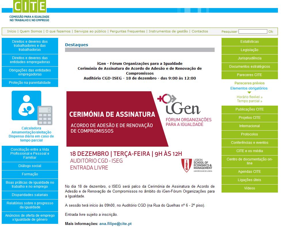 iGen - Fórum Organizações para a Igualdade Cerimónia de Assinatura de Acordo de Adesão e de Renovação de Compromissos