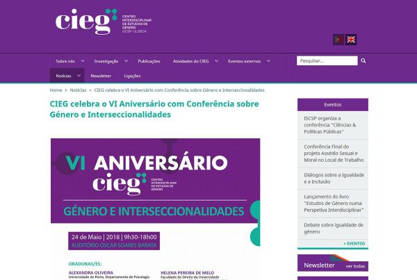 CIEG celebra o VI aniversário com conferência sobre género e interseccionalidades