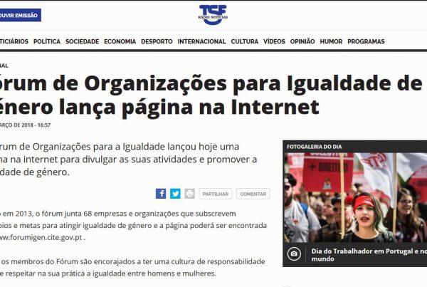 TSF - Fórum de Organizações para Igualdade de género lança página na Internet