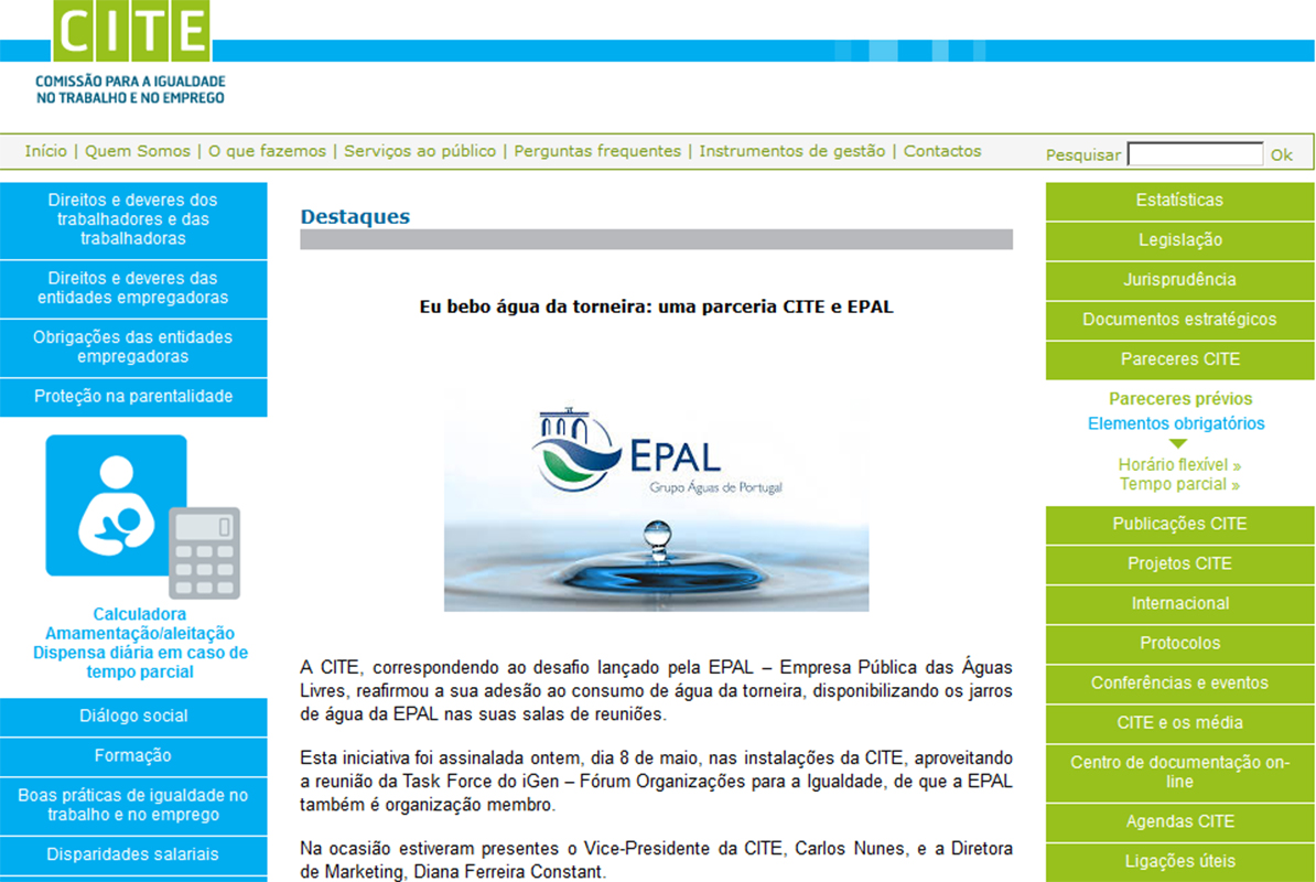 Eu bebo água da torneira uma parceria CITE e EPAL