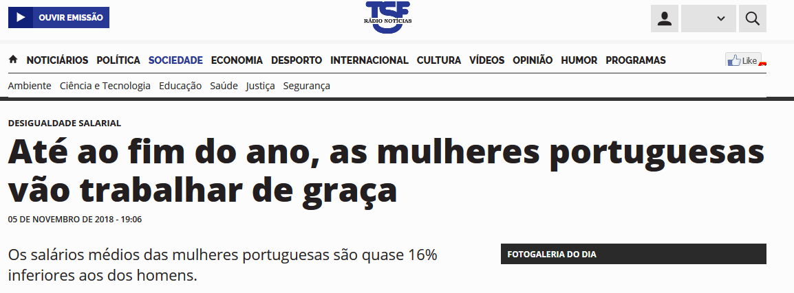 Até ao fim do ano, as mulheres portuguesas vão trabalhar de graça
